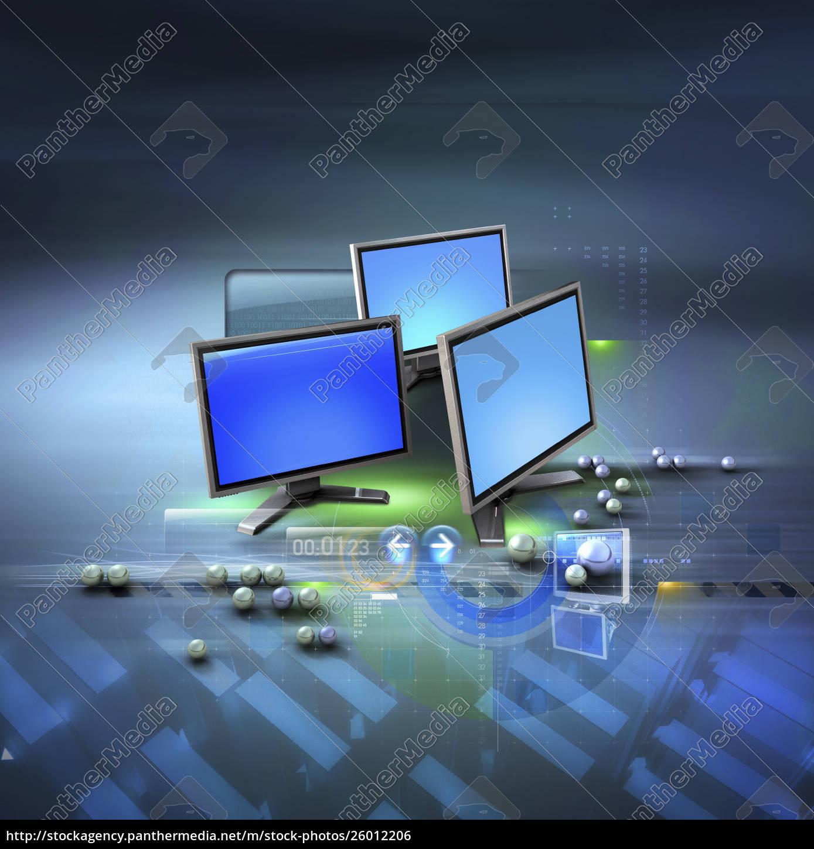 computer, monitors, , data, and, ball, bearings - 26012206