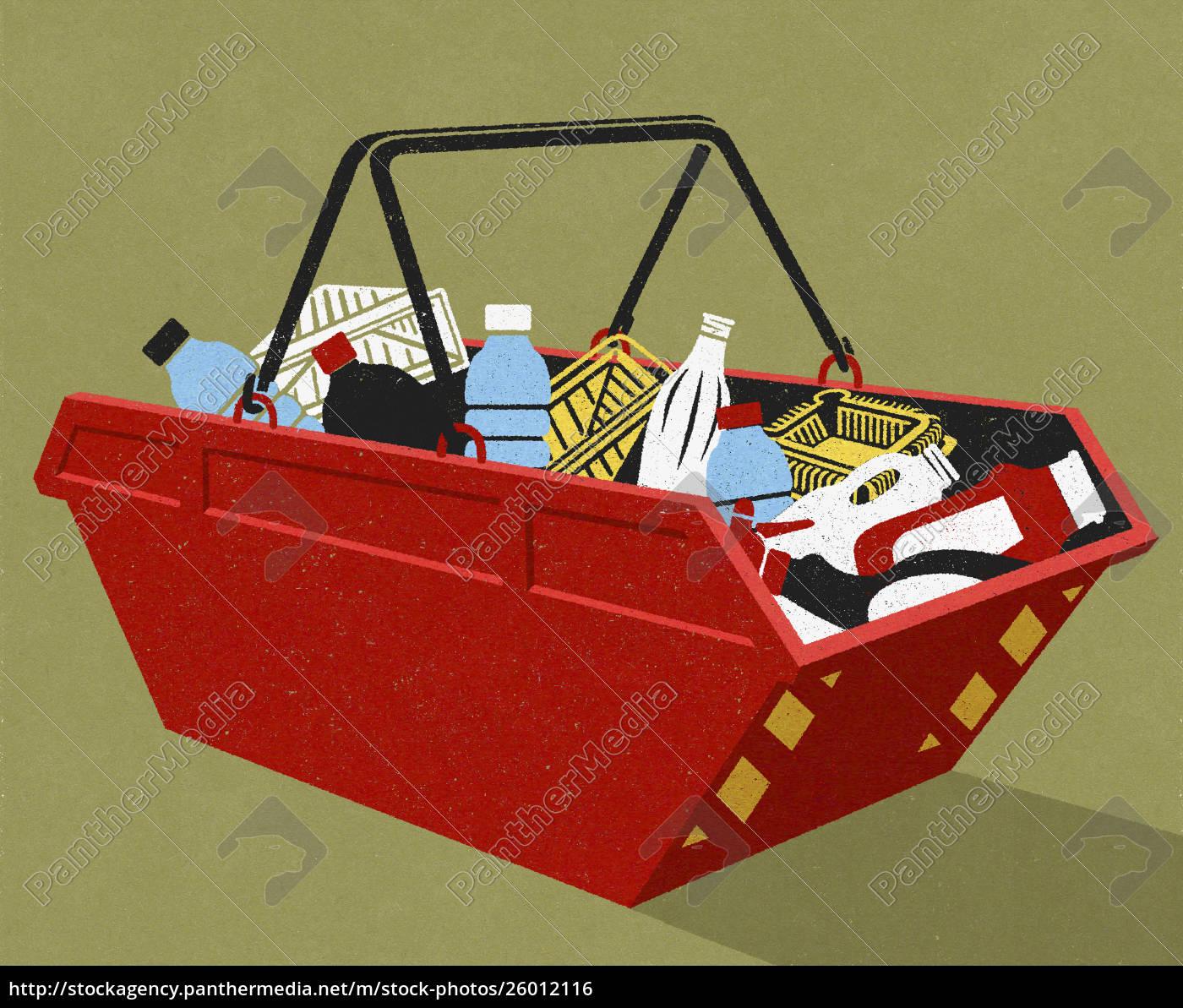 kunststoffverpackungsrecycling, im, industriekorb - 26012116