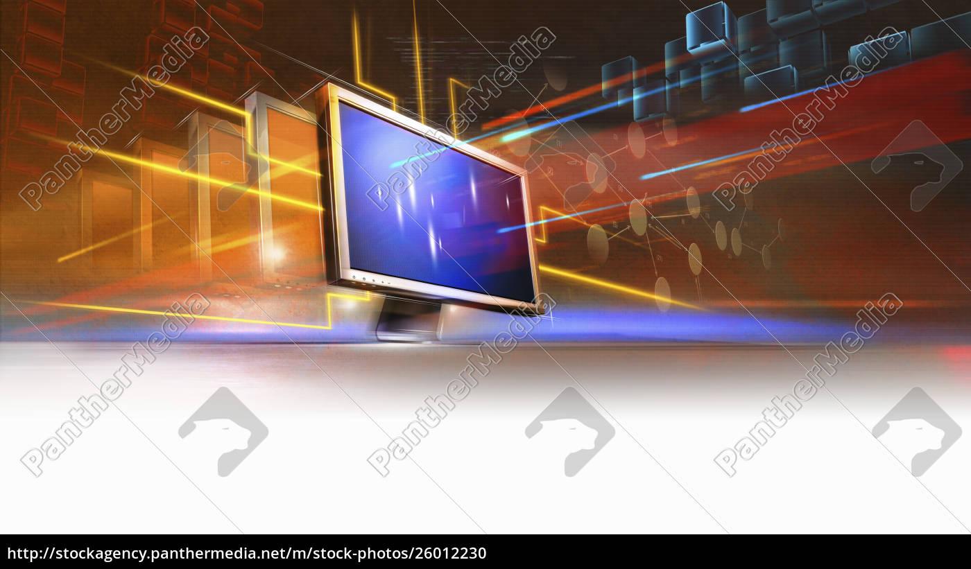lichtstrahlen, und, datenstreaming, vom, computerbildschirm - 26012230