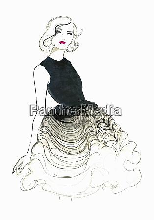 happy elegant woman wearing ruffled evening