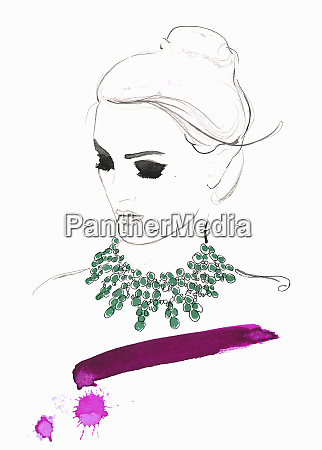 elegant woman wearing green necklace