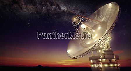 radio telescope at night