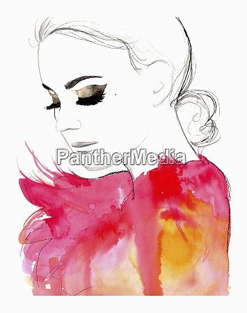 glamouroese frau traegt flauschige rosa federn