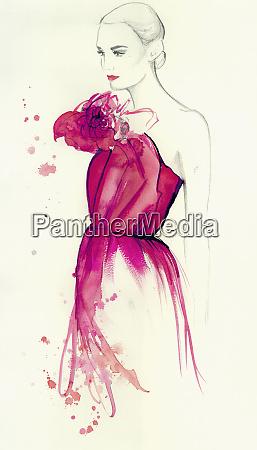 elegant woman wearing pink strapless dress