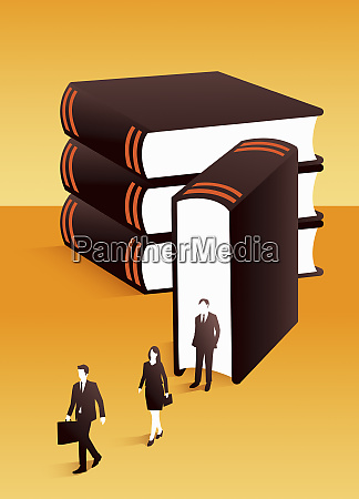 lawyers emerging from large book