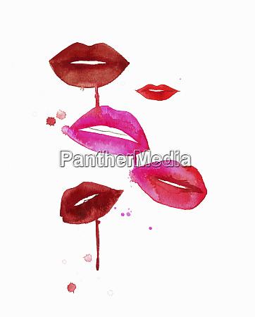 lippen mit geschmuggeltem roten und rosa