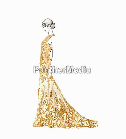 beautiful woman wearing full length gold