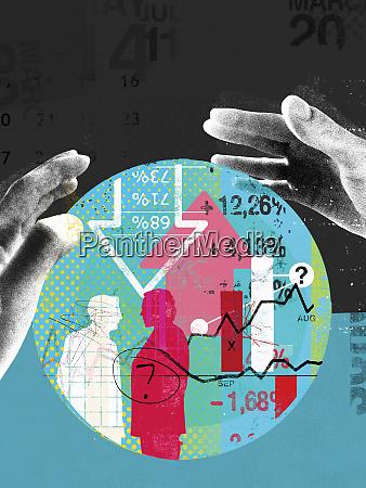 hands around finance data inside of
