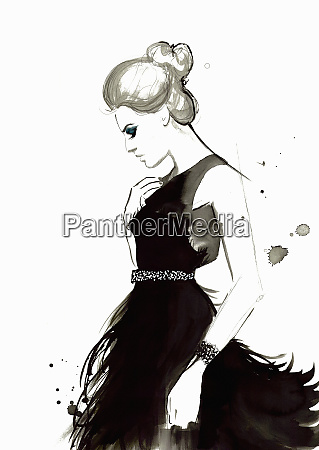 fashion illustration of woman wearing feather