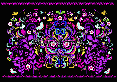 fluorescent colorful symmetrical floral pattern on