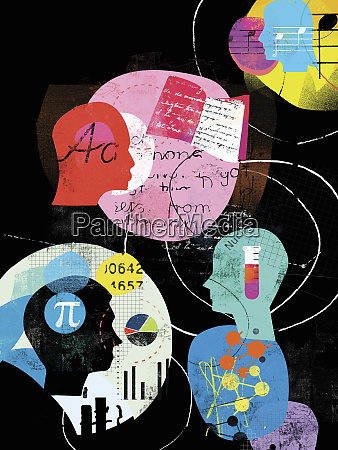 collage von studentenprofilen und berufsfachwahl