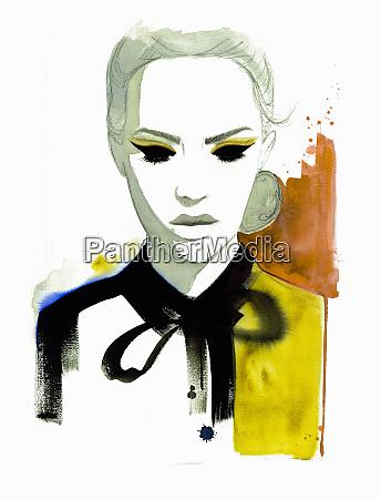fashion illustration of woman wearing blouse