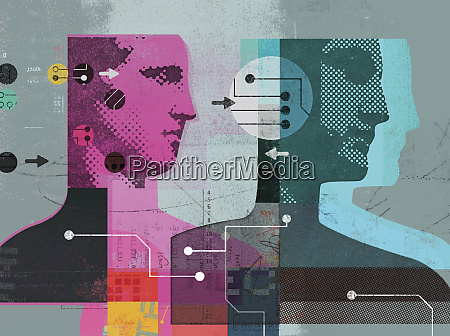 collage of men and data connected