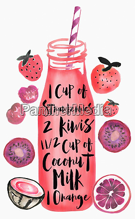 recipe for smoothie on bottle with