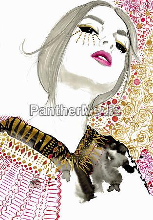fashion illustration of woman wearing ornate