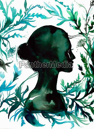 profile of beautiful woman in silhouette