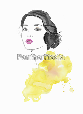 watercolor illustration of fashion model looking