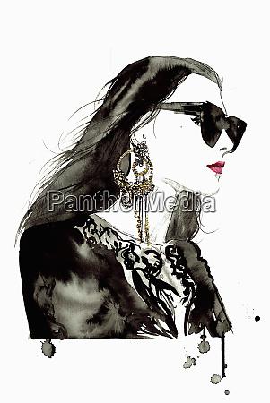 watercolor illustration of fashion model wearing