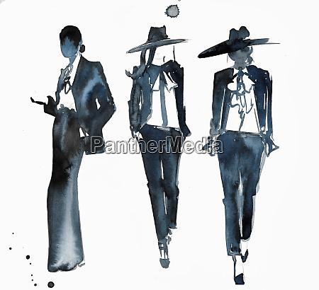 watercolour fashion illustration of models on
