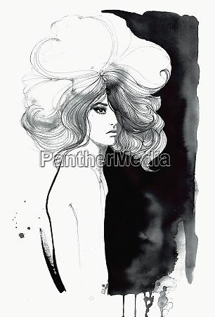 fashion model with big hair