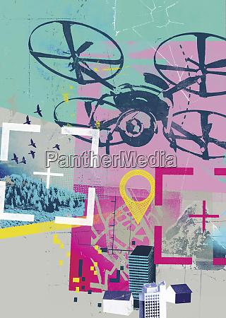 drohnenfotografie in der globalen positionierungssystem collage