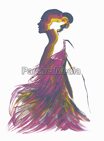 silhouette of woman wearing purple feather