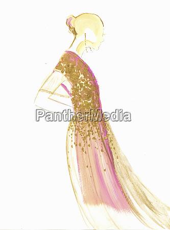 fashion illustration of woman wearing gold