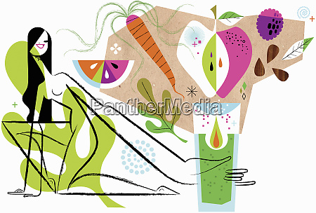 woman reaching for healthy fruit and