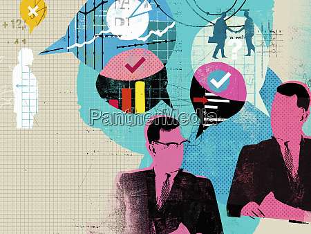businessmen discussing financial data in speech