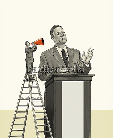 small man on ladder shouting through