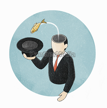 fish jumping from head of businessman
