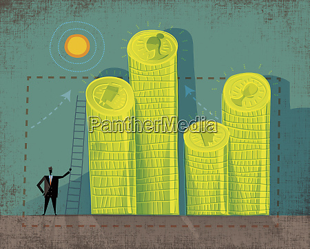 businessman with ladder and piles of