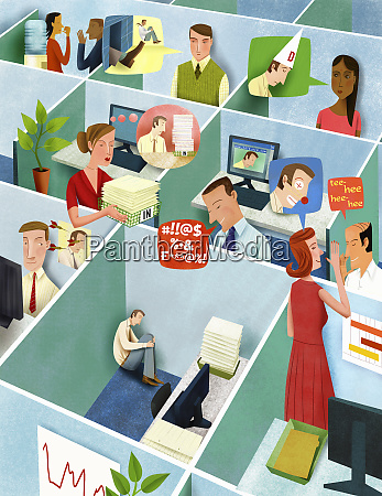 office workers in cubicles bullying isolated