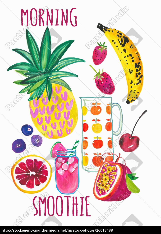 frische, fruchtzutaten, für, gesunden, morgensmoothie - 26013488