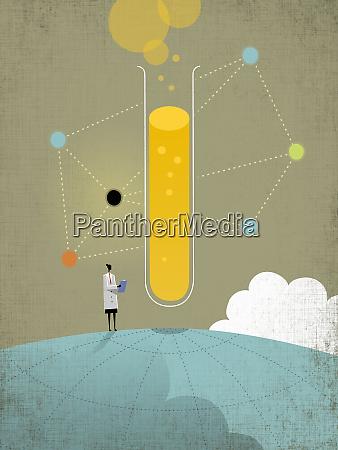 wissenschaftler, steht, auf, globus, und, analysiert - 26013830