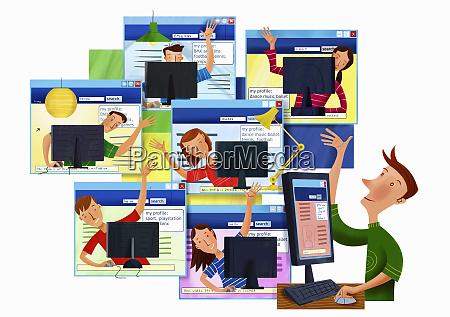 glueckliche winkende jugendliche die computer und