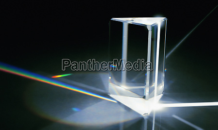 light beams refracted through prism into