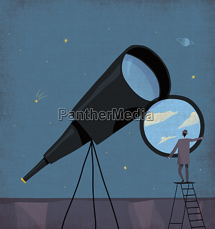 businessman changing telescope lens to sunny