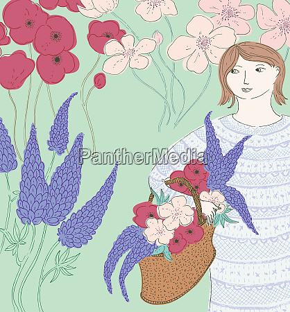 woman in garden with basket of