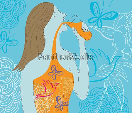 woman drinking natural juice