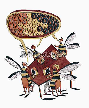 business people bees in meeting working