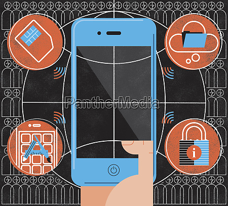 montage of smart phone cloud computing