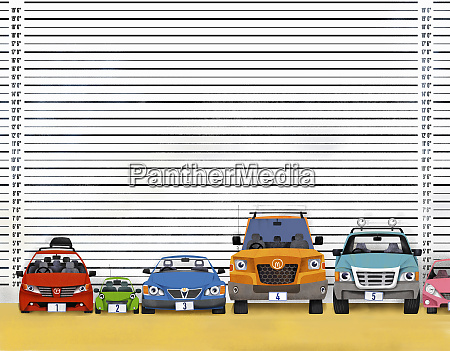 variety of cars in police line