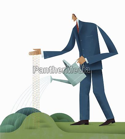 unternehmer saeen und saatgut giessen
