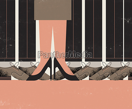 legs and feet of single businesswoman