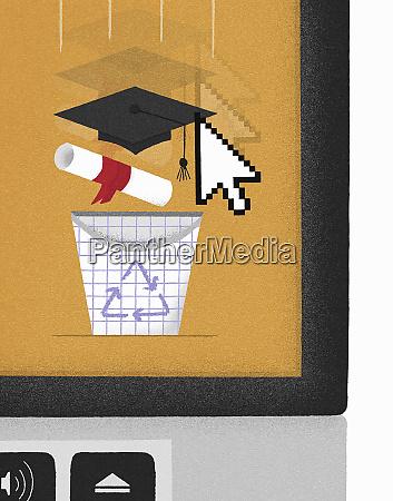 computer cursor dragging mortarboard and diploma