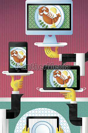 waiters bringing lobster meal on computer