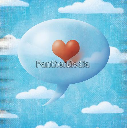 heart inside of speech bubble in