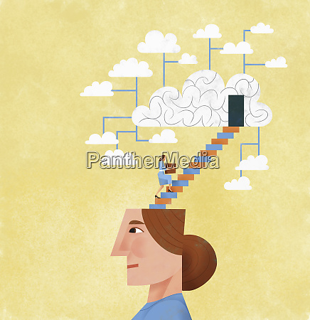 frau organisiert und speichert ideen mit