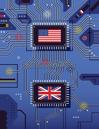 american and british flags connected on